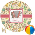 Vintage Musical Instruments Round Beach Towel (Personalized)