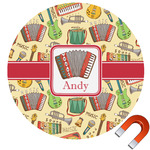 Vintage Musical Instruments Round Car Magnet (Personalized)