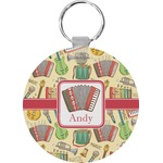 Vintage Musical Instruments Round Keychain (Personalized)