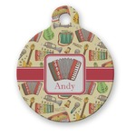 Vintage Musical Instruments Round Pet Tag (Personalized)
