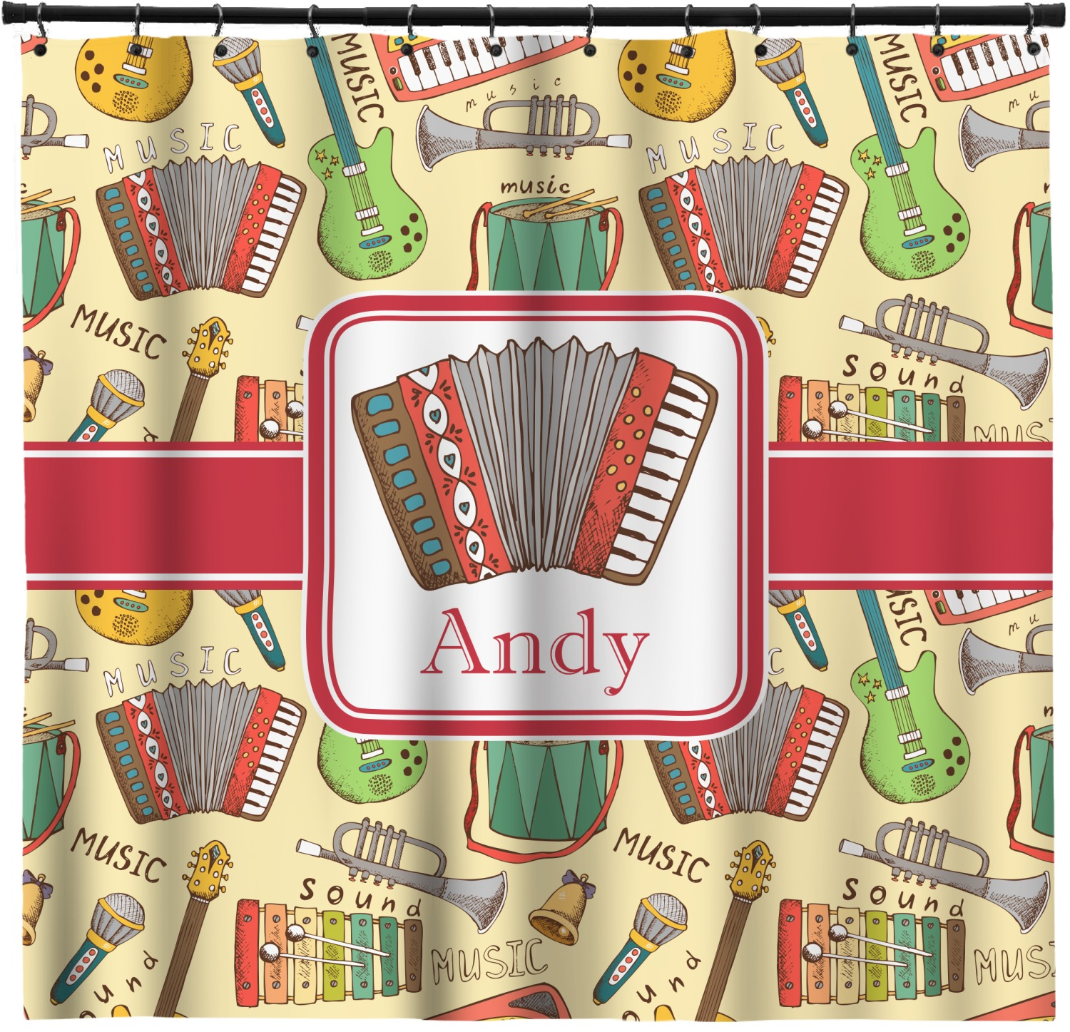 vintage musical instruments shower curtain personalized - Musical Shower Curtains