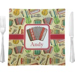 """Vintage Musical Instruments Glass Square Lunch / Dinner Plate 9.5"""" - Single or Set of 4 (Personalized)"""