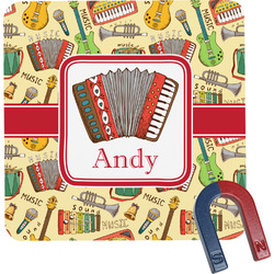 Vintage Musical Instruments Square Fridge Magnet (Personalized)