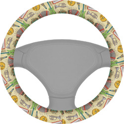 Vintage Musical Instruments Steering Wheel Cover (Personalized)