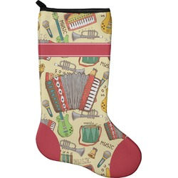 Vintage Musical Instruments Christmas Stocking - Neoprene (Personalized)