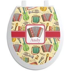 Vintage Musical Instruments Toilet Seat Decal (Personalized)