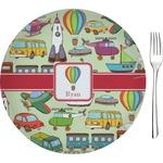 "Vintage Transportation Glass Appetizer / Dessert Plates 8"" - Single or Set (Personalized)"