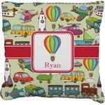 Vintage Transportation Faux-Linen Throw Pillow (Personalized)