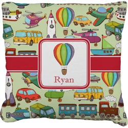 Vintage Transportation Faux-Linen Throw Pillow (Personalized)