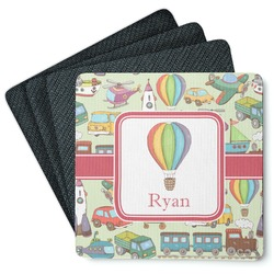 Vintage Transportation 4 Square Coasters - Rubber Backed (Personalized)
