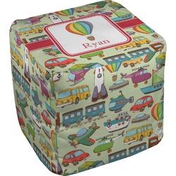 "Vintage Transportation Cube Pouf Ottoman - 18"" (Personalized)"
