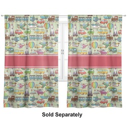 "Vintage Transportation Curtains - 56""x80"" Panels - Lined (2 Panels Per Set) (Personalized)"