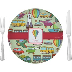"Vintage Transportation Glass Lunch / Dinner Plates 10"" - Single or Set (Personalized)"