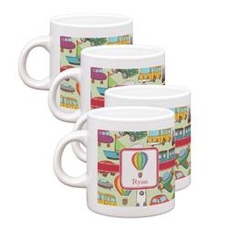 Vintage Transportation Espresso Mugs - Set of 4 (Personalized)
