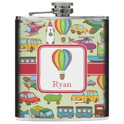 Vintage Transportation Genuine Leather Flask (Personalized)