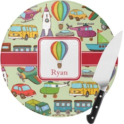 Vintage Transportation Round Glass Cutting Board (Personalized)