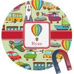 Vintage Transportation Round Magnet (Personalized)