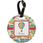 Vintage Transportation Round Luggage Tag (Personalized)
