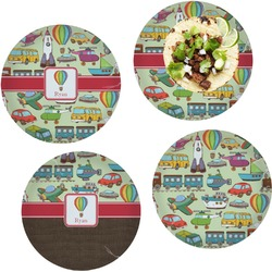 """Vintage Transportation Set of 4 Glass Lunch / Dinner Plate 10"""" (Personalized)"""