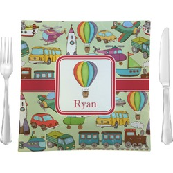 """Vintage Transportation 9.5"""" Glass Square Lunch / Dinner Plate- Single or Set of 4 (Personalized)"""