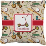 Vintage Sports Faux-Linen Throw Pillow (Personalized)
