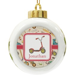 Vintage Sports Ceramic Ball Ornament (Personalized)