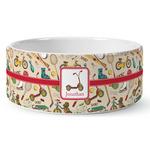 Vintage Sports Ceramic Dog Bowl (Personalized)