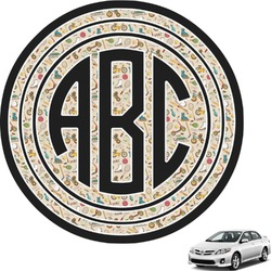 Vintage Sports Circle Monogram Car Decal (Personalized)
