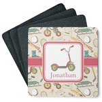 Vintage Sports 4 Square Coasters - Rubber Backed (Personalized)
