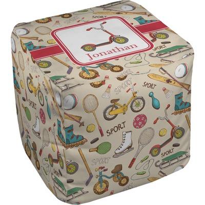 Vintage Sports Cube Pouf Ottoman (Personalized)