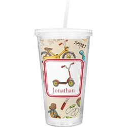 Vintage Sports Double Wall Tumbler with Straw (Personalized)