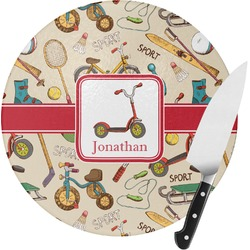 Vintage Sports Round Glass Cutting Board (Personalized)