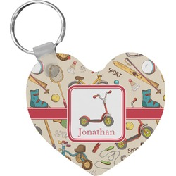 Vintage Sports Heart Keychain (Personalized)