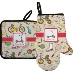 Vintage Sports Oven Mitt & Pot Holder (Personalized)