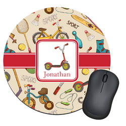 Vintage Sports Round Mouse Pad (Personalized)