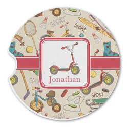 Vintage Sports Sandstone Car Coasters (Personalized)
