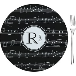 "Musical Notes 8"" Glass Appetizer / Dessert Plates - Single or Set (Personalized)"