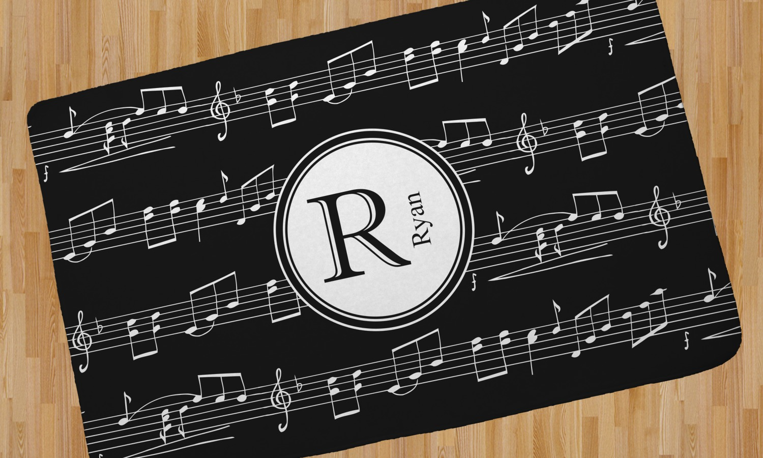 Musical Notes Area Rug Personalized