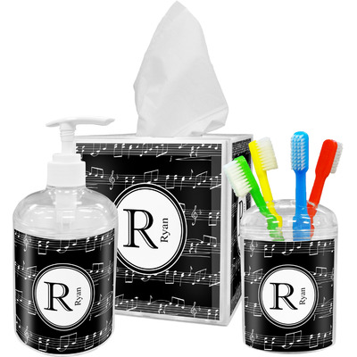 Musical Notes Acrylic Bathroom Accessories Set w/ Name and Initial