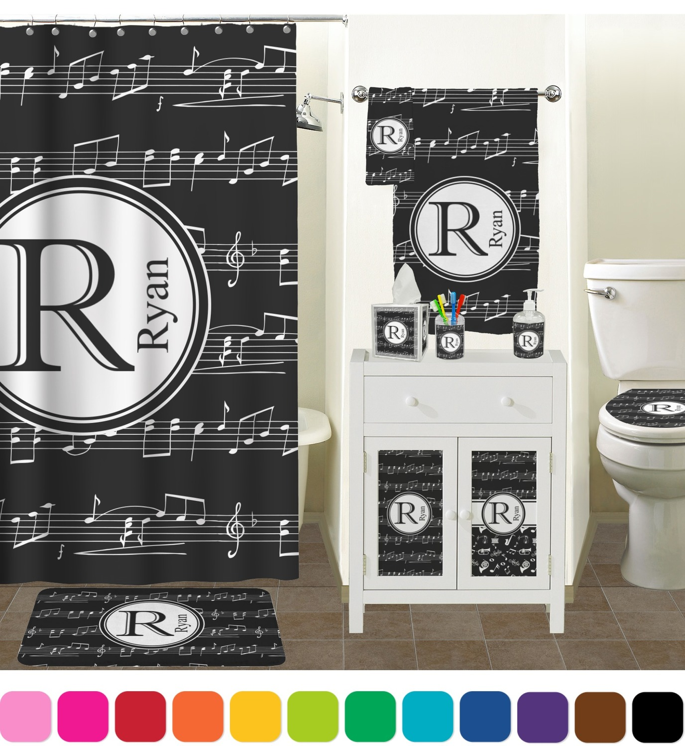 Awesome ... Accessories Set (Personalized) Musical Notes Bathroom Scene ...