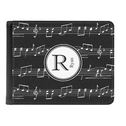 Musical Notes Genuine Leather Men's Bi-fold Wallet (Personalized)
