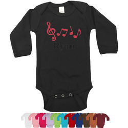 Musical Notes Bodysuit - Long Sleeves - 0-3 months (Personalized)