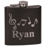 Musical Notes Black Flask Set (Personalized)