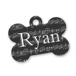 Musical Notes Bone Shaped Dog Tag (Personalized)