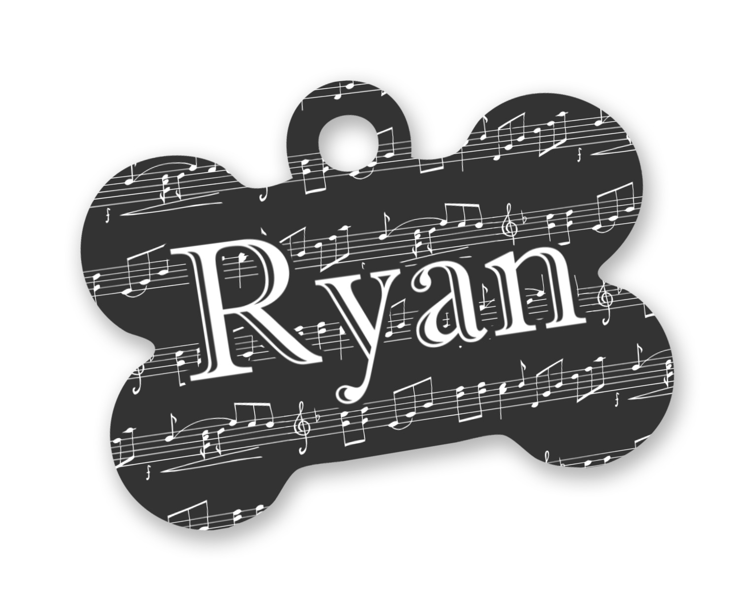 Musical Notes Bone Shaped Dog Tag Personalized