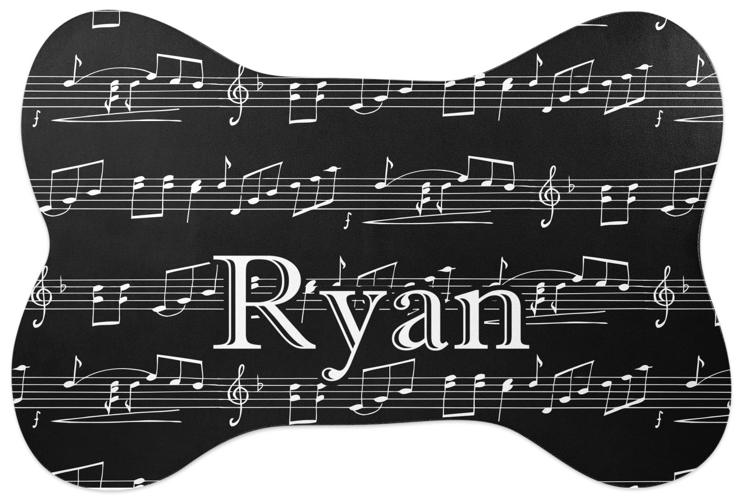 Musical Notes Bone Shaped Dog Food Mat Personalized