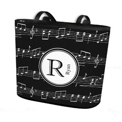 Musical Notes Bucket Tote w/ Genuine Leather Trim (Personalized)