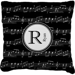 Musical Notes Faux-Linen Throw Pillow (Personalized)