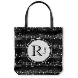 "Musical Notes Canvas Tote Bag - Small - 13""x13"" (Personalized)"