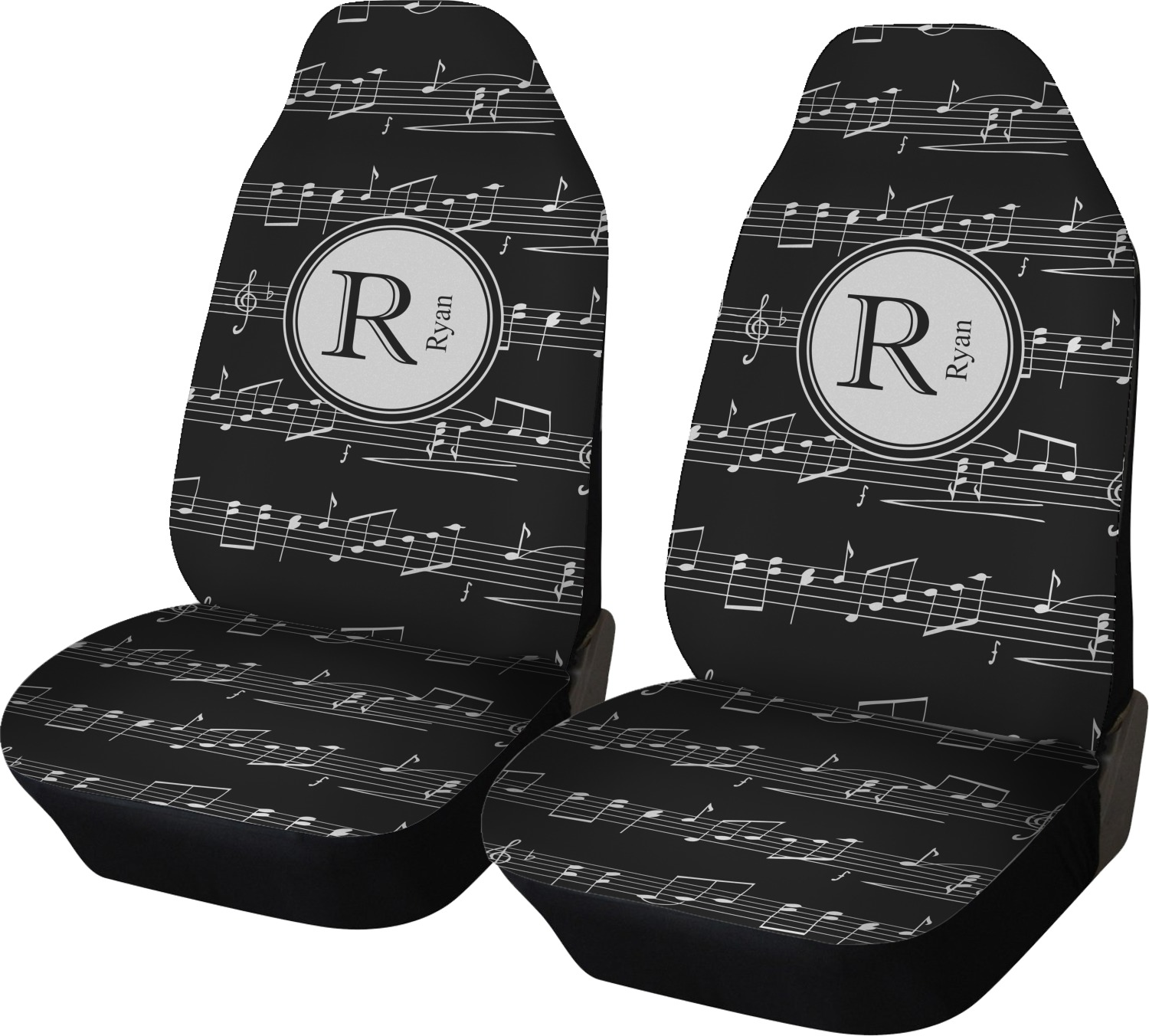 Musical Notes Car Seat Covers Set Of Two Personalized